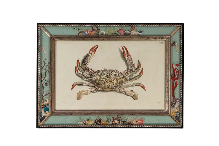 Set of four reverse glass painted frames,