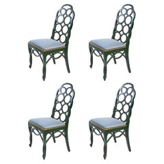 Set of Four Frances Elkins Loop Side Chairs with Painted Decoration