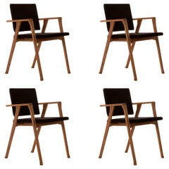 Set of Four Franco Albini Luisa Chairs, Wood and Fabric by Cassina
