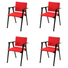 Set of Four Franco Albini Luisa Chairs, Wood and Fabric