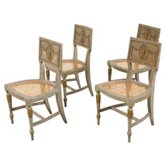 Set of Four French 18th Century Painted Side Chairs with Liberal Arts Allegory