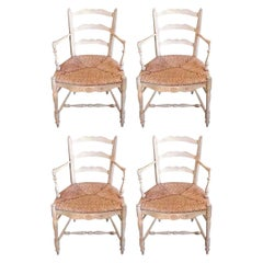 Set of Four French 19th Century Hand Painted Provencal Armchairs with Rush Seats