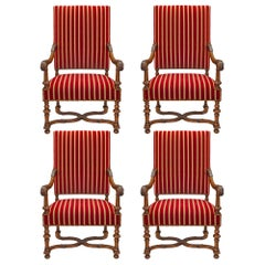 Set of Four French 19th Century Louis XIII Style Oak Armchairs Signed Gillette