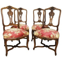Set of Four French 19th Century Louis XV Style Carved Walnut Parlor Side Chairs