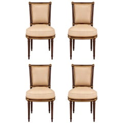 Set of Four French 19th Century Louis XVI St. Mahogany and Giltwood Side Chairs