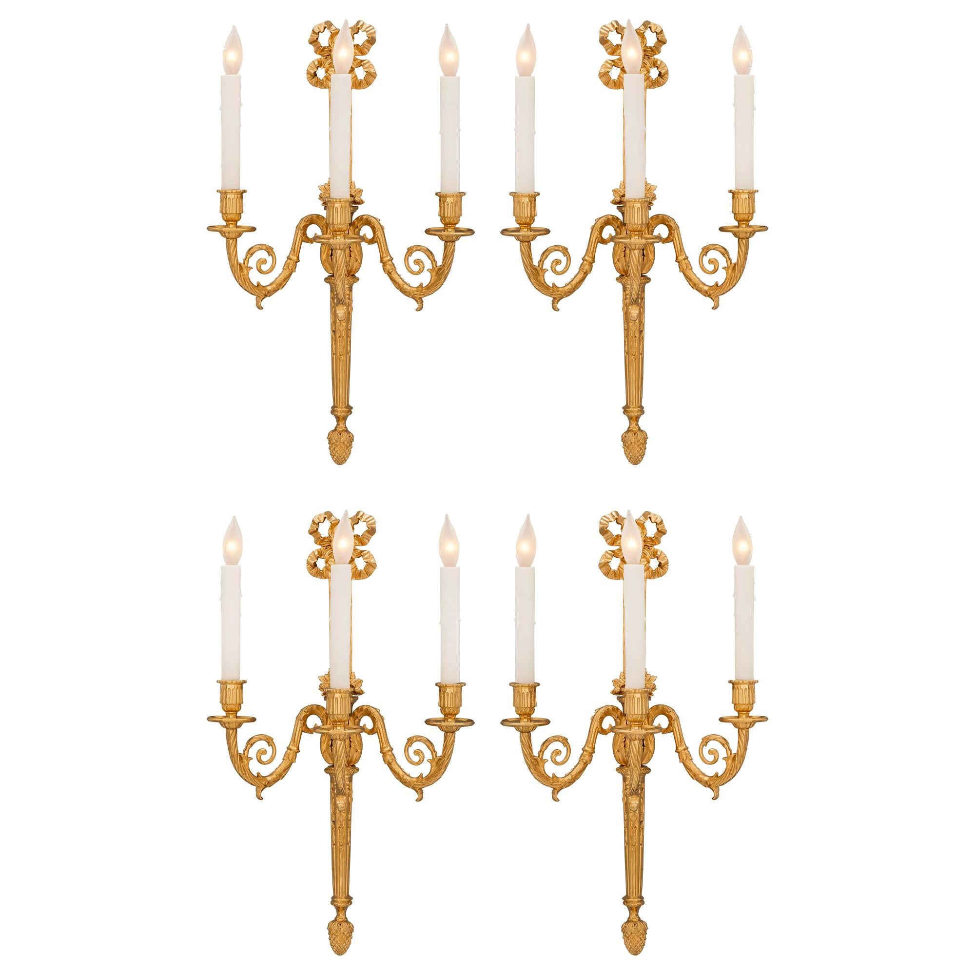 Set of Four French 19th Century Louis XVI Style Ormolu Sconces