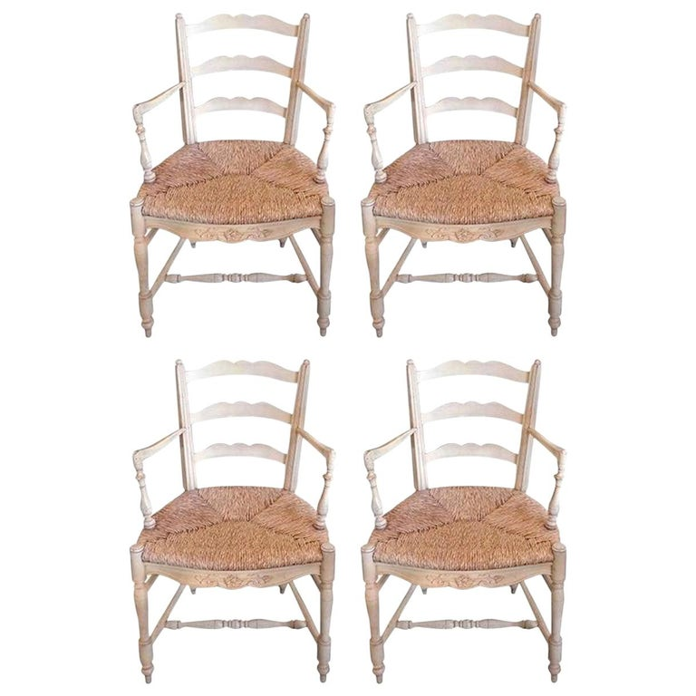 Set of Four French 19th Century Painted Provencal Armchairs with Rush Seats For Sale