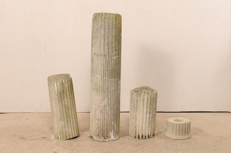 Set of Four French 19th Century Stone Column Ruins with Fluted Details In Good Condition For Sale In Atlanta, GA