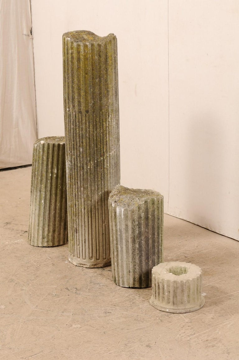 Set of Four French 19th Century Stone Column Ruins with Fluted Details For Sale 1