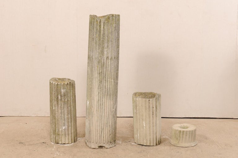 Set of Four French 19th Century Stone Column Ruins with Fluted Details For Sale 2