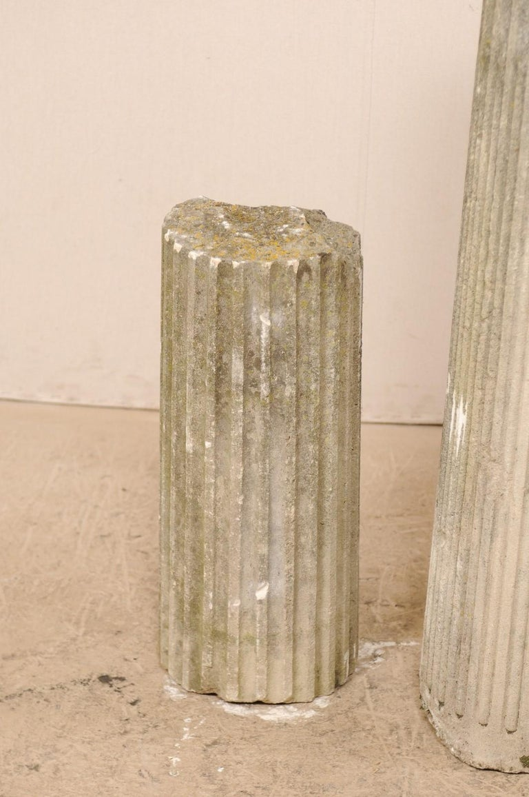 Set of Four French 19th Century Stone Column Ruins with Fluted Details For Sale 3
