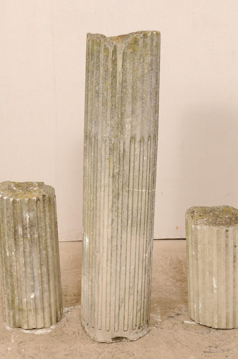 Set of Four French 19th Century Stone Column Ruins with Fluted Details For Sale 4