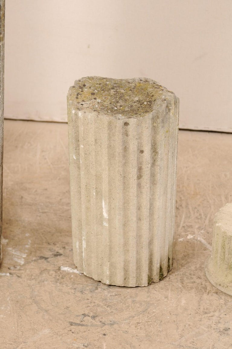 Set of Four French 19th Century Stone Column Ruins with Fluted Details For Sale 5