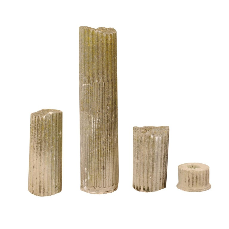 Set of Four French 19th Century Stone Column Ruins with Fluted Details For Sale