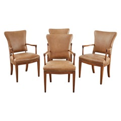 Set of Four French Art Deco Armchairs after Jules Leleu