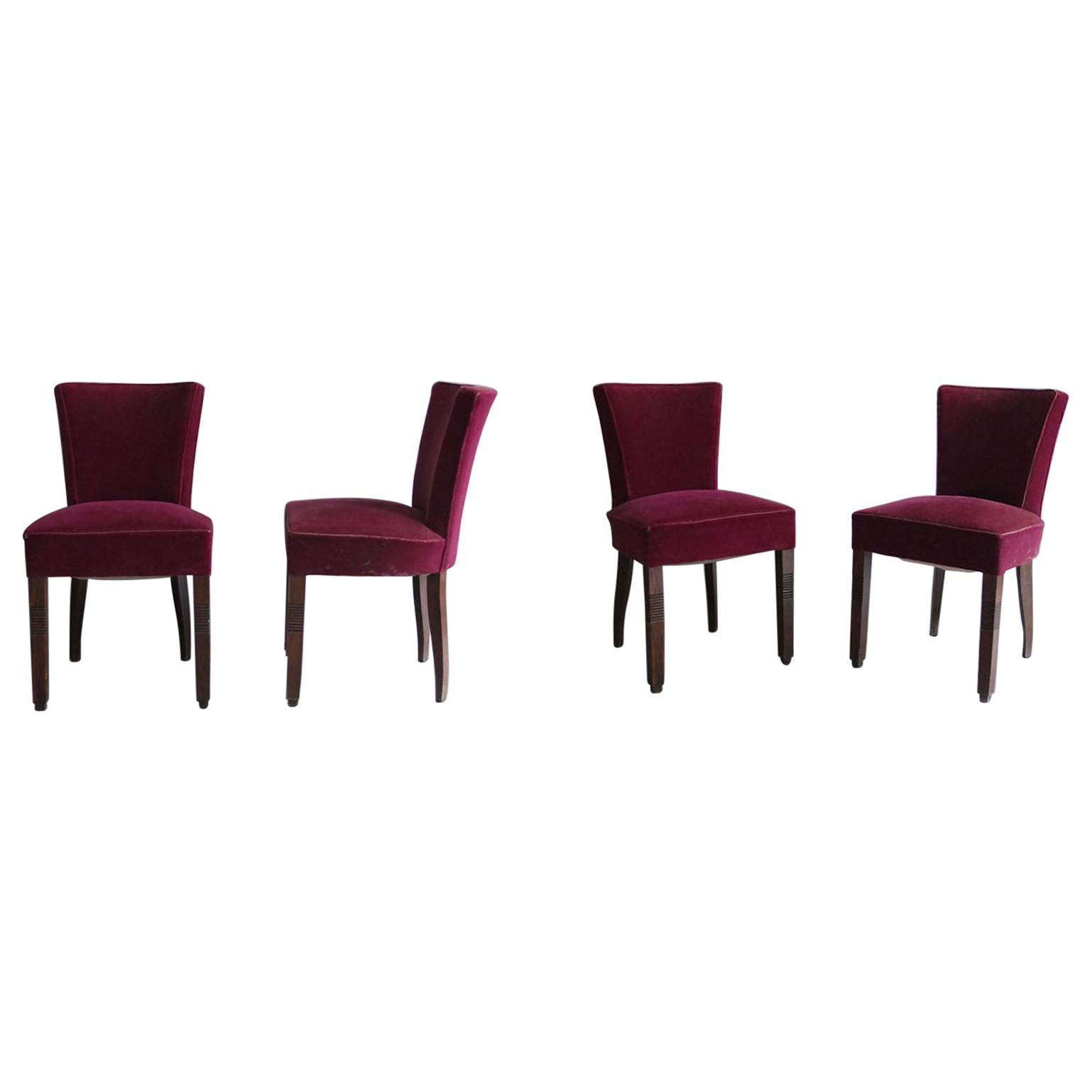 Set of Four French Art Deco Chairs by Dudouyt