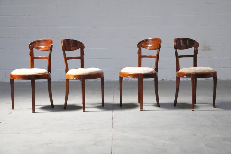 Set of Four French Art Deco Dining Chairs Attributed to Sue et Mare, circa 1920s In Good Condition For Sale In Los Angeles, CA
