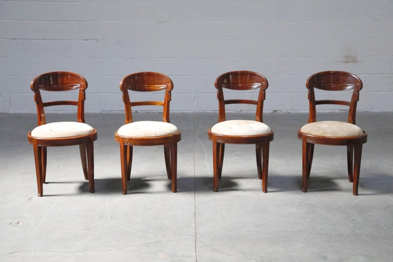 Suede Set of Four French Art Deco Dining Chairs Attributed to Sue et Mare, circa 1920s For Sale