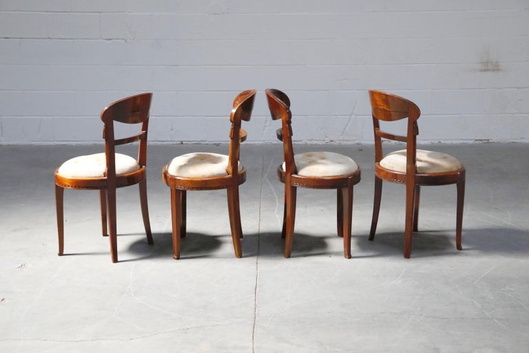 Set of Four French Art Deco Dining Chairs Attributed to Sue et Mare, circa 1920s For Sale 3