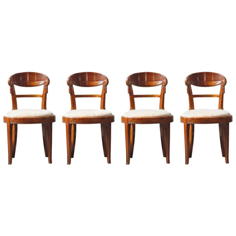 Set of Four French Art Deco Dining Chairs Attributed to Sue et Mare, circa 1920s For Sale