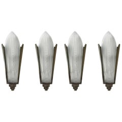 Set of Four French Art Deco Sconces Signed by Genet et Michon