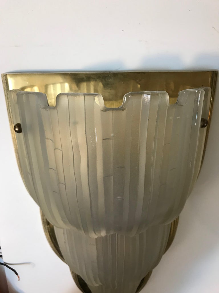 Set of Four French Art Deco Sconces Signed by Sabino For Sale 5