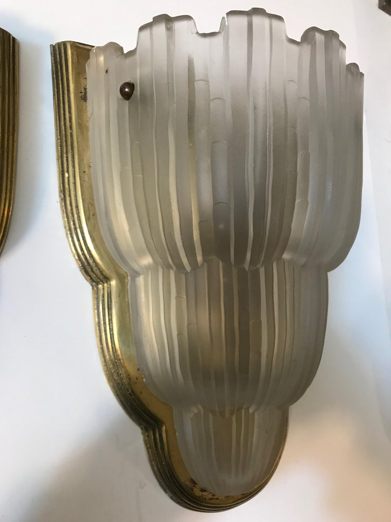 Mid-20th Century Set of Four French Art Deco Sconces Signed by Sabino For Sale