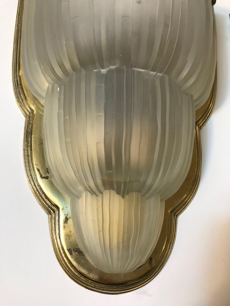 Set of Four French Art Deco Sconces Signed by Sabino For Sale 2