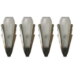 Set of Four French Art Deco Wall Sconces Signed by P. Maynadier