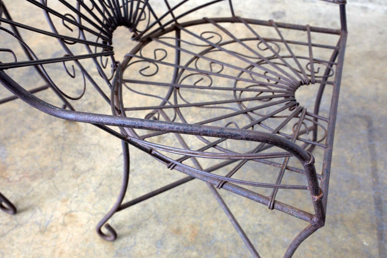 Set of Four French Art Nouveau Iron Garden Chairs For Sale 5
