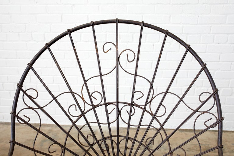 Set of Four French Art Nouveau Iron Garden Chairs For Sale 6