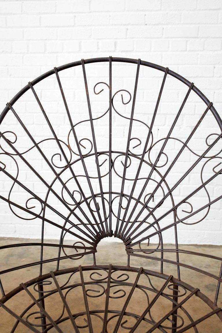 Set of Four French Art Nouveau Iron Garden Chairs For Sale 7