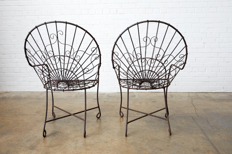 Set of Four French Art Nouveau Iron Garden Chairs For Sale 8