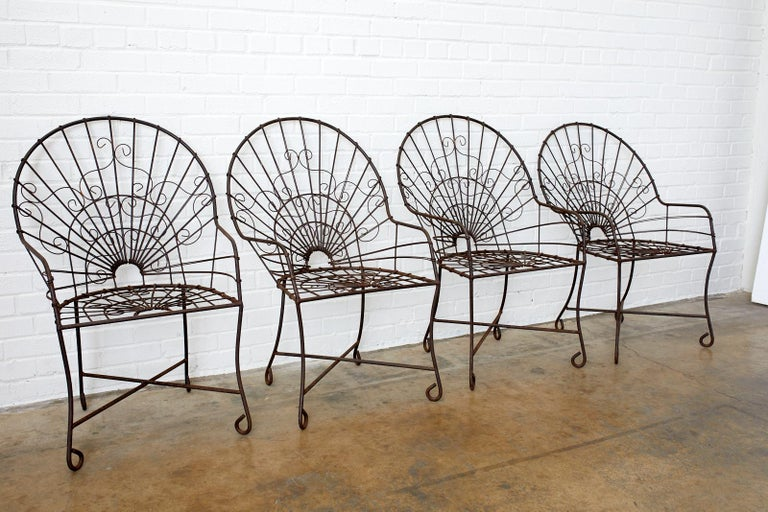 Set of Four French Art Nouveau Iron Garden Chairs In Good Condition For Sale In Oakland, CA