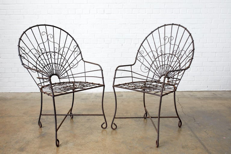 Set of Four French Art Nouveau Iron Garden Chairs For Sale 1