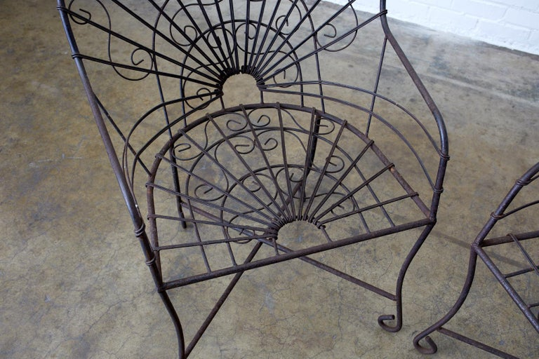 Set of Four French Art Nouveau Iron Garden Chairs For Sale 2