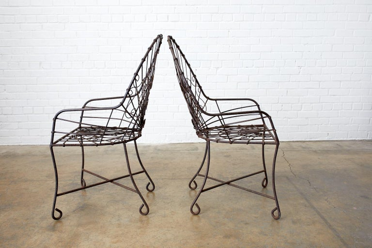 Set of Four French Art Nouveau Iron Garden Chairs For Sale 3
