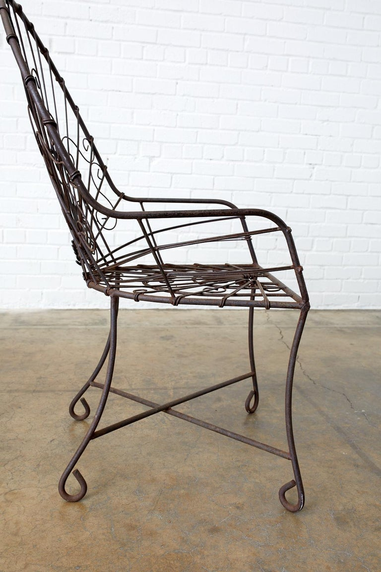 Set of Four French Art Nouveau Iron Garden Chairs For Sale 4