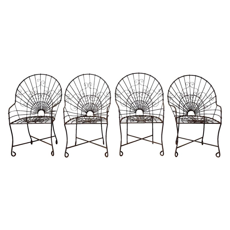 Set of Four French Art Nouveau Iron Garden Chairs For Sale