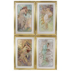 "Alphonse Mucha Series of ""Les Saisons"" Lithographs"