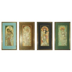 Set of Four French Art Nouveau Pastels, Attributed to Alphonse Mucha