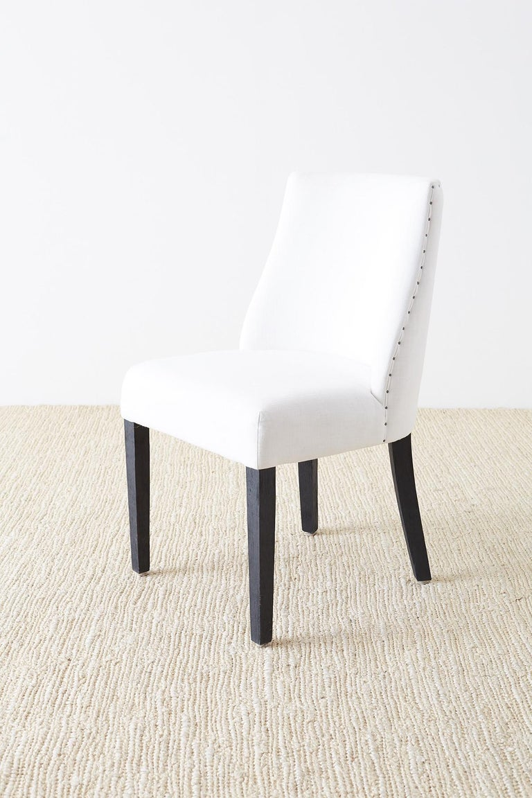 Set of Four French Barrel Back Style Dining Chairs For Sale 4