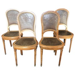 Set of Four French Burled Walnut Pressed Back Leather Chairs