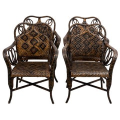 Set of Four French Cane Woven Armchairs