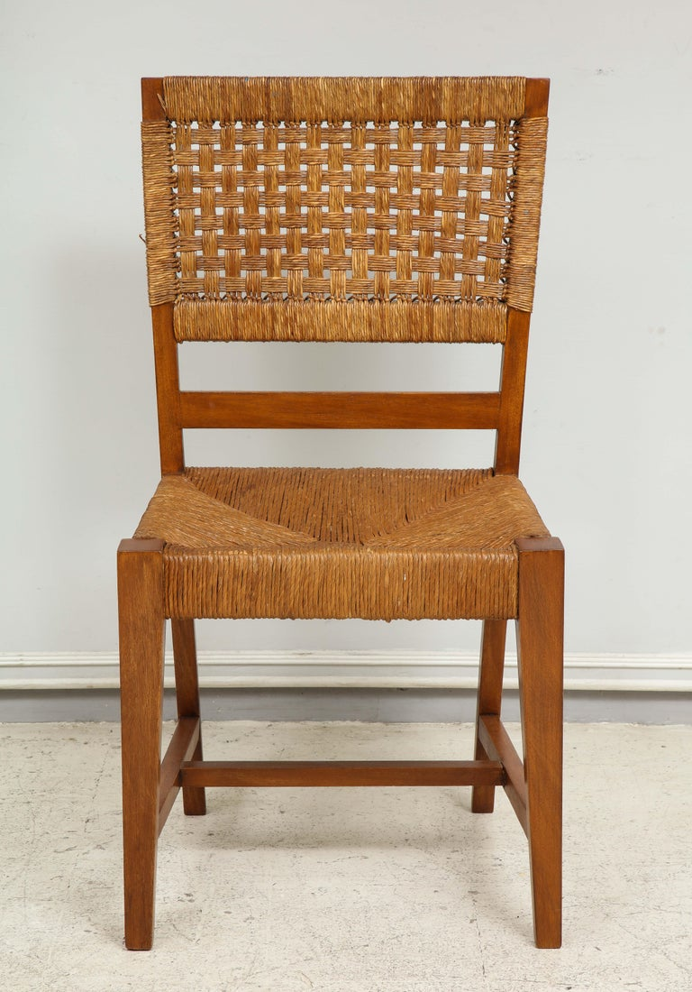Set of Four French Caned Chairs from 1940s-1950s In Excellent Condition For Sale In New York, NY