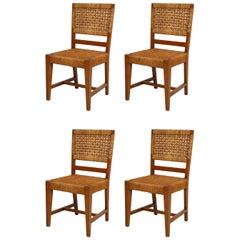 Set of Four French Caned Chairs from 1940s-1950s