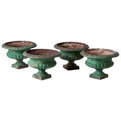 Set of Four French Cast Iron Garden Urns, circa 1900