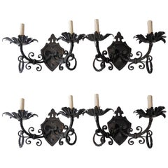 Set of Four French Crest Wrought Iron Sconces, circa 1920
