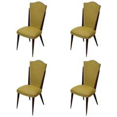 Set of Four French Deco Dining Chairs in Ebony with Ball Ornament