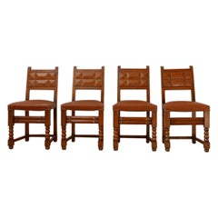 Set of Four French Deco Dining Chairs in Manner of Charles Dudouyt